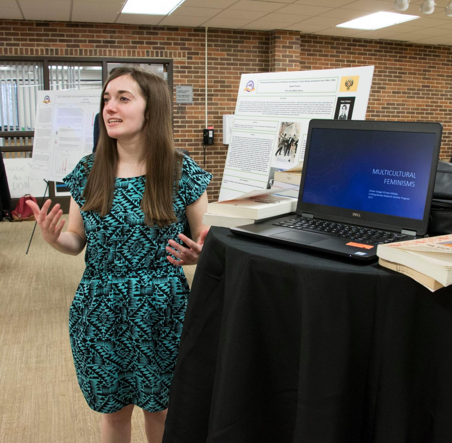Amber Steiger presents her research at the Undergraduate Student Consortium last spring