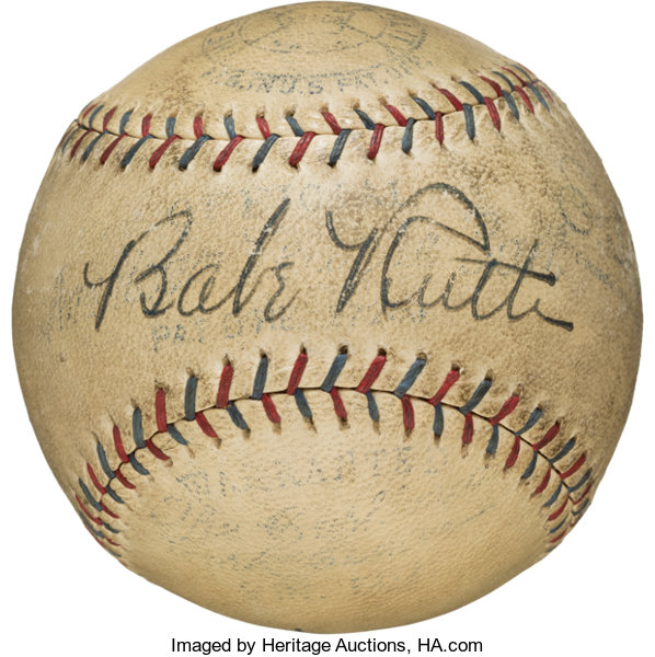 6754321914d A baseball signed by Babe Ruth is one of the most valuable autograph items