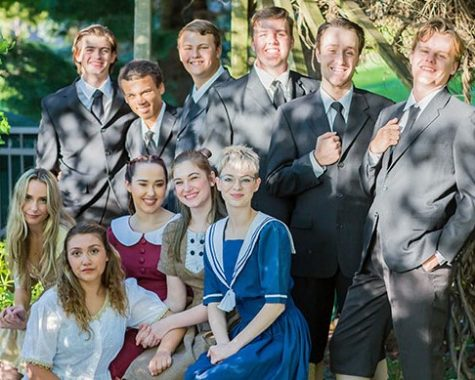 "The cast of ""Spring Awakening,"" left to right top row - Ethan Sherman, Derrick Wilson, Jackson Nielsen, Dan Cosgray, Matt Stewart, Liam Bell. Left to right bottom row - Lara Bell, Angelina Straus, Kiara Carey, Peri Sindberg, Teagan Anderson."