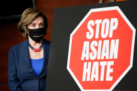 Speaker of the House Nancy Pelosi, D-Calif., attends a news conference on the COVID-19 Hate Crimes Act after the House passed the bill.
